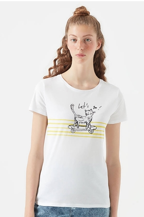 Kaykay Baskılı Penye Kadın Beyaz Tişört