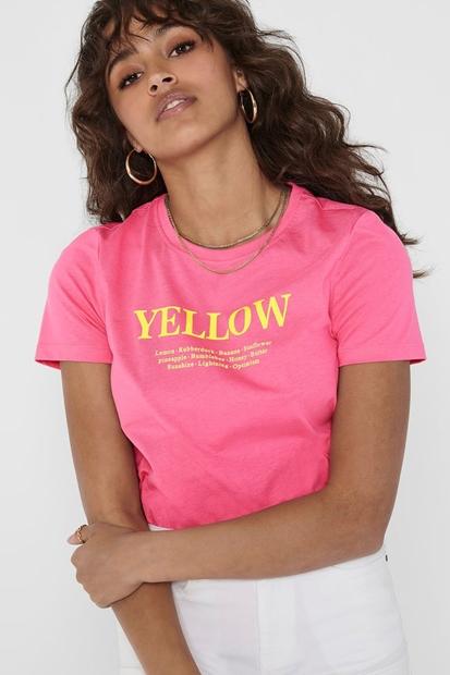 Ava Life Baskılı Kadın Pembe Tişört
