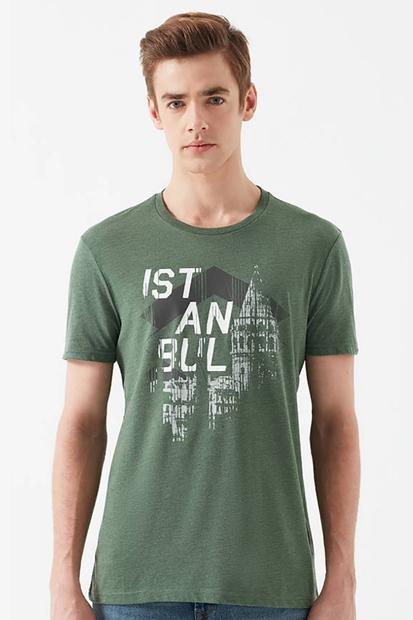 İstanbul Baskılı Yeşil Tişört