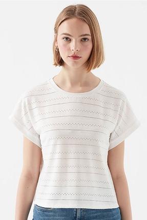 Kısa Kollu Beyaz Kadın Penye Tişört