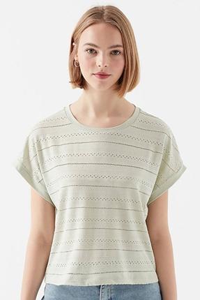 Kısa Kollu Penye Kadın Yeşil Tişört