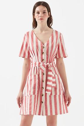 Dre Burnt Coral Stripe Pembe Elbise