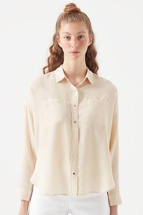 Uzun Kollu Bej Kadın Gömlek