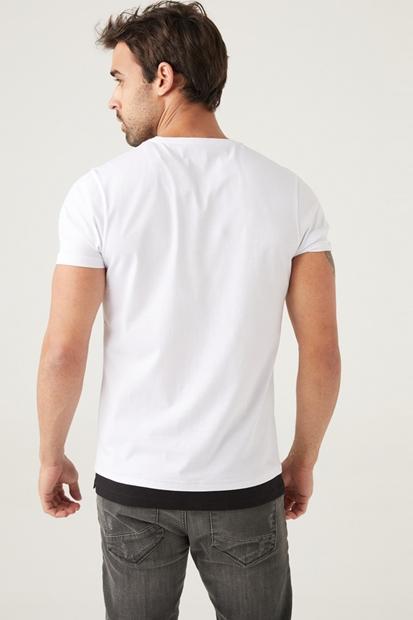 Bisiklet Yaka Beyaz Erkek Tişört