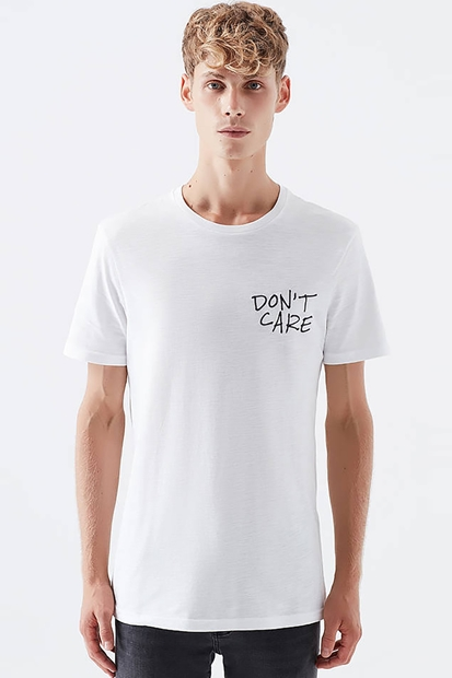 Dont Care Baskılı Beyaz Erkek Tişört