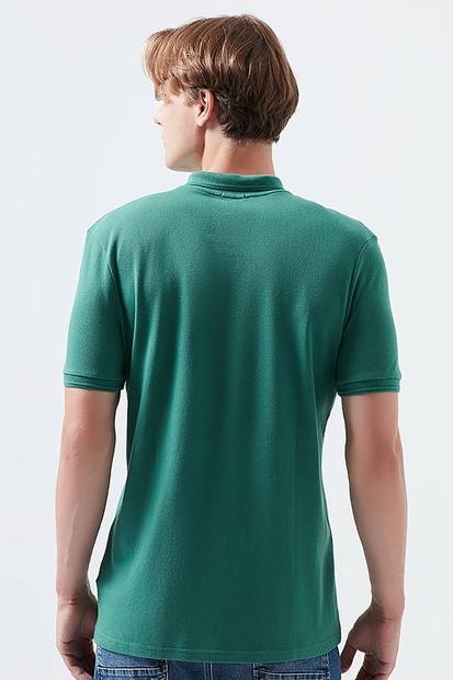 Polo Yaka Çam Yeşili Erkek Tişört