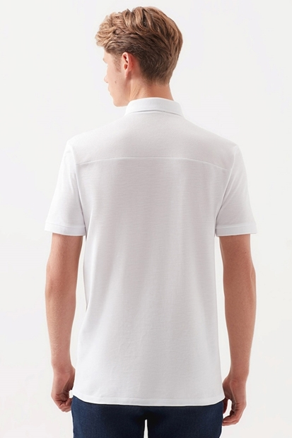 Polo Yaka Beyaz Erkek Tişört