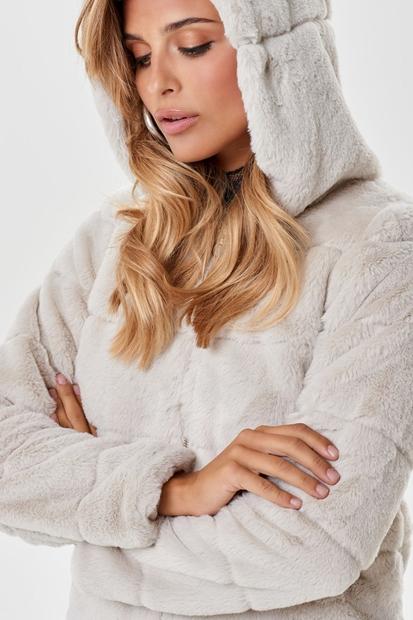 Chrıs Fur Hodeed Bej Kadın Mont