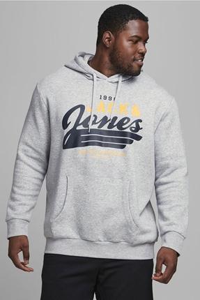 Logo Hood Gri Erkek Sweatshırt