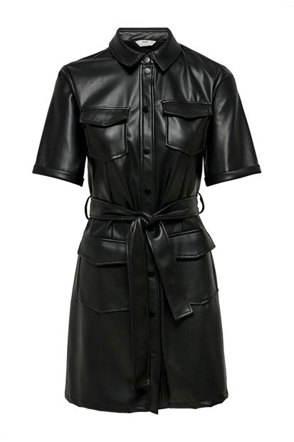 Maylee Mada Faux Siyah kadın Deri Elbise
