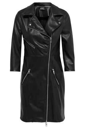 Emma Faux Leather Siyah Kaban