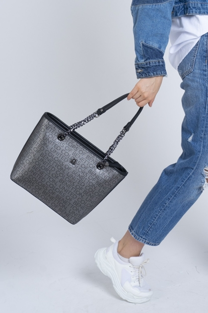 Siyah Gri Omuz Çanta