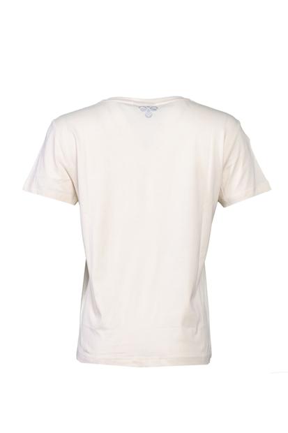 Bisiklet Yaka Beyaz Kadın Tişört