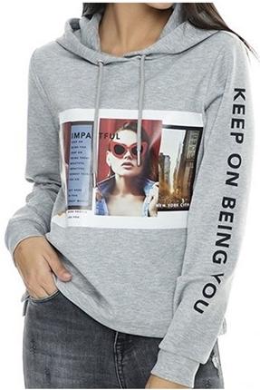 Clear Kadın Gri Sweatshirt