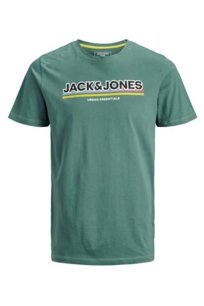 Jack & Jones Hade Yeşil Bisiklet Yaka Erkek Tişört 12171412-NAC