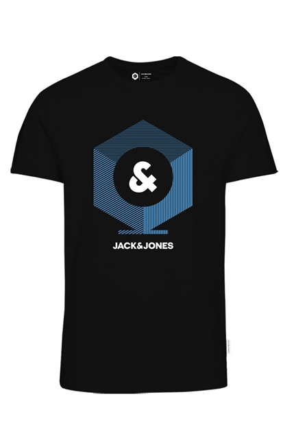 Jack & Jones Kev Tee Crew Siyah Erkek Tişört 12157125-B