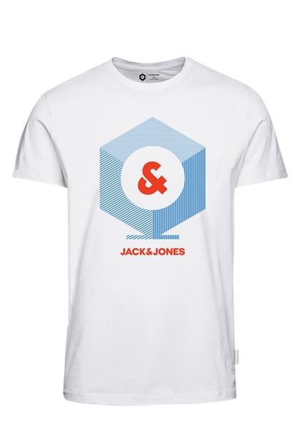 Jack & Jones Kev Tee Crew Beyaz Erkek Tişört 12157125-W