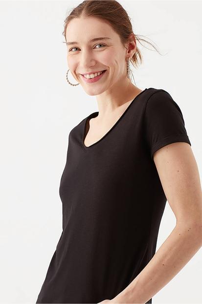 Mavi Basic V Yaka Siyah Kadın Tişört 166446-900
