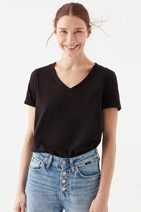 Kısa Kollu Siyah Penye Tişört