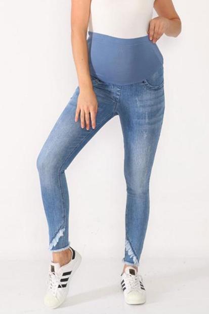 İşşıl 3786-Tiftiz Paça Tırnaklı Hamile Slim Fit Kot Pantolon İssispnt001