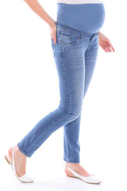 İşşıl 3777-Boru Paça Yumuşak Doku Hamile Kot Pantolon İssispnt004