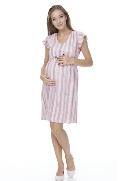 İşşıl 2871-Renkli Pamuk Çizgi Hamile Spor Elbise İssenelb003