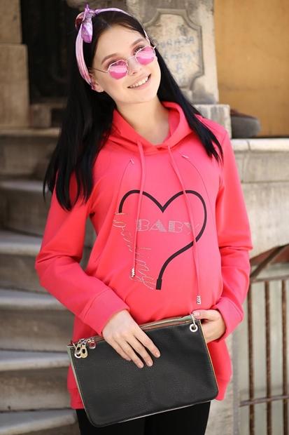 İşşıl 8626-Taşli Baski Hamile Sweatshirt 19Kgrths007