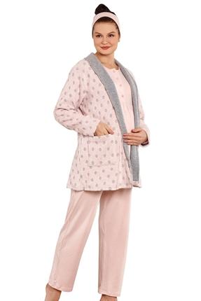 3802-Kar Tanesi Lizözlü Hamile Pijama-Loğusa Takım
