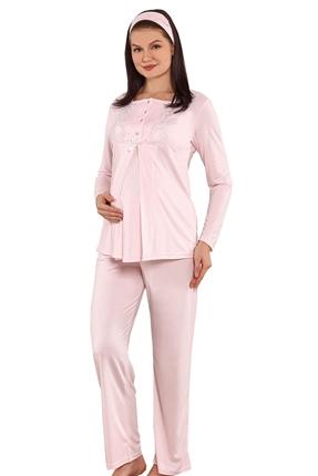 3819-Nakış Yaka İkili Takım Hamile-Loğusa Pijama Takım