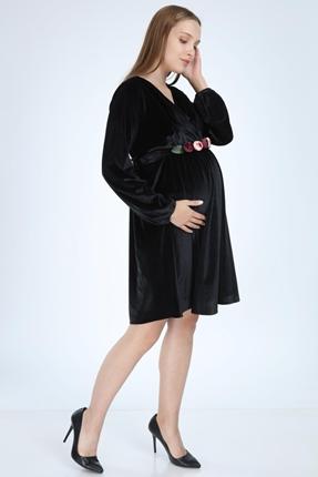 6002-Kruvaze Yaka Şakaık Kemer Kadife Mini Hamile Elbise