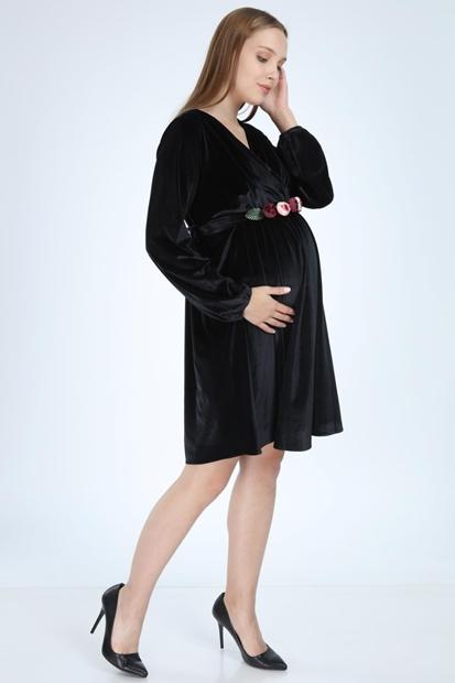 İşşıl 6002-Kruvaze Yaka Şakaık Kemer Kadife Mini Hamile Elbise 20Kenelb003