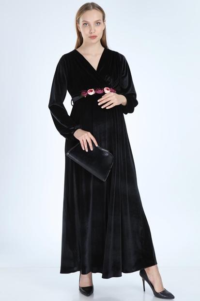 İşşıl 6002-Kruvaze Kadife Maxi Hamile Elbise 19Kenaby002