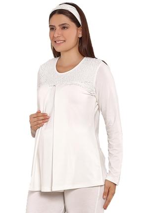3824-Güpür Yaka Hamile-Loğusa 2 Li Pijama Takım