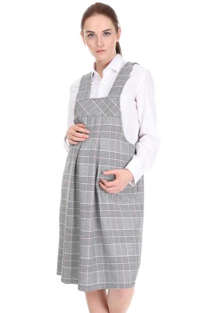 İşşıl 5069-Hokka Renkli Ekose Mini Hamile Ofis Tulum Elbise 20Kenelb002