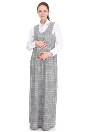 9743-Ekose Kazayağı Fiyonklu Maxi Hamile Jile Elbise