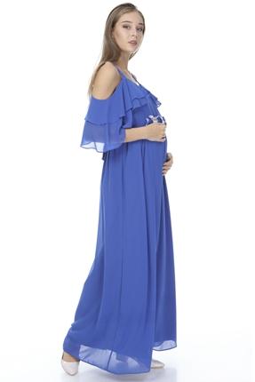 6021-Baby Shower Çiçek Kuşak Hamile Abiye Elbise