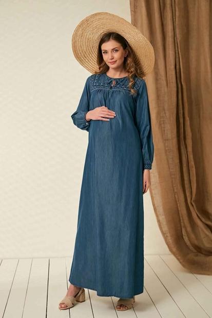 İşşıl O7045-Yaka Nakış Bağcıklı Hamile Kot Elbise 20Kgrelb001