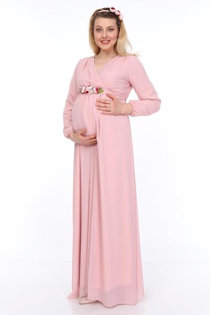 İşşıl Hamile Şakayık Kemer Uzun Kol Şifon Elbise 18Yenaby008