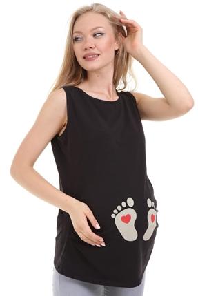 7026-Kalp Ayak Baskı Hamile Askılı T-Shirt