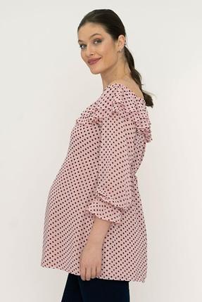 2512-Çift Pile Kayık Yaka Puanlı Hamile Bluz