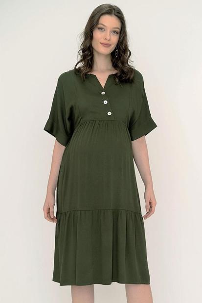 İşşıl 5095-Verev Emzirme Düğmeli Belmando Hamile Elbise 20Yenelb014