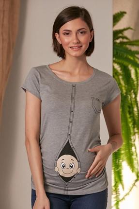 7755-Hamile Giyim Düğmeli Bakan Bebek K Kol T-Shirt