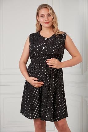 O7075-Mini Puan Emzirmeli Viskon Hamile Mini Jile Elbise