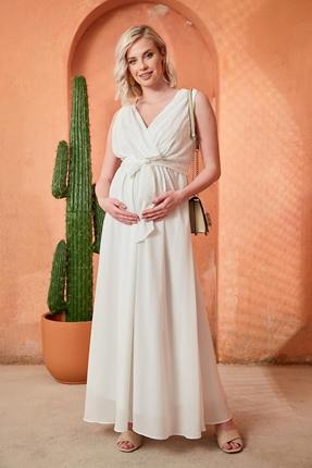 O7052-Baby Shower Hamile Şifon Abiye Elbise