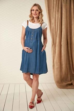 8226-Deri Askılı Tencel Mini Hamile Elbise