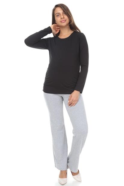 İşşıl 3131-Büzgülü Uzun Kol Hamile T-Shirt 12Kelths002
