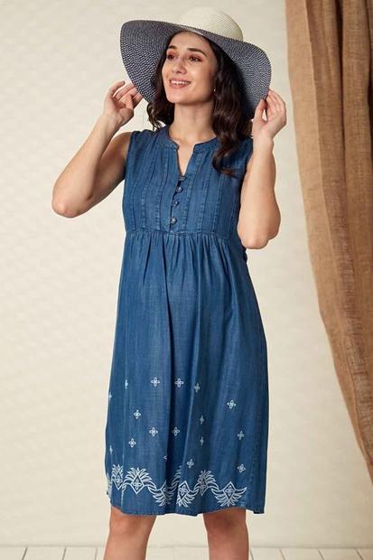 İşşıl O7024-Tencel Emzirme Nakışlı Hamile Mini Elbise 20Ygrelb015