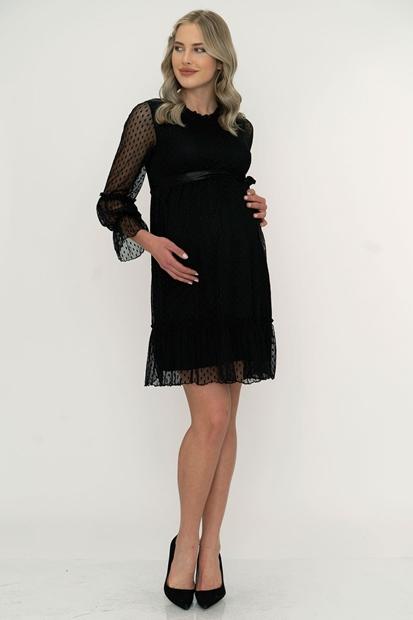 İşşıl 5101-Puanlı Tül Mini Hamile Elbise 20Yenelb003