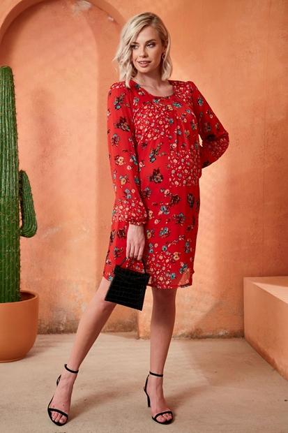 İşşıl O7008-Bahar Çiçek Pile Astarlı Hamile Mini Elbise 20Ygrelb004