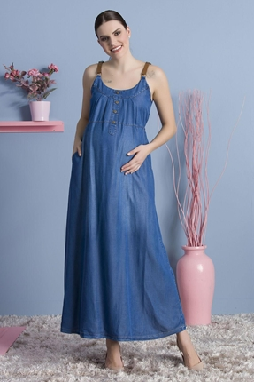 8235-Deri Askılı Tencel Maxi Hamile Elbise
